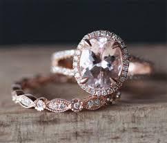 Art Deco Morganite Engagement Ring Set VS 7 9mm Oval Cut Morganite