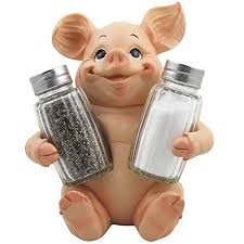 Decorative Pig Glass Salt And Pepper Shaker Set With Holder Stand In Farm Animal Figurines Sculptures Statues Or Rustic Country Kitchen Decor