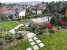down sloping lot landscape landscape contemporary with wood
