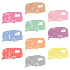 Retro Clipart Summer Camping Clip Art Camper Caravan RV Digital Instant Download Commercial Use