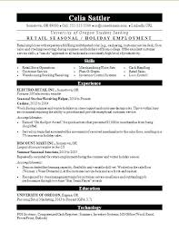 Retail Resume Samples Sample For A Seasonal Worker Manager Examples 2016