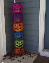 Glow In The Dark Plastic Pumpkins by Weathered Plastic Pumpkin Totem Pole Fun Family Crafts