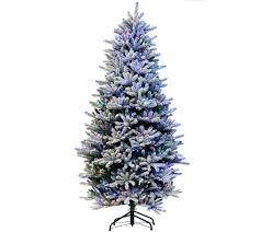 75 Slim Flocked Christmas Tree by Santa U0027s Best 7 5 U0027 Rgb 2 0 Flocked Balsam Fir Christmas Tree U2014 Qvc Com