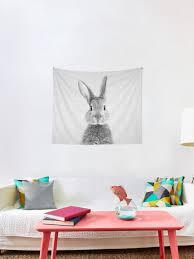kaninchen schwarz weiß wandbehang