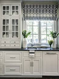 Kitchen Window Ideas Curtains Roman Blinds I Hope They Have A Bigger Glass CabinetsKitchen CabinetryBlack Countertops White