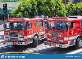 100 Red Fire Trucks Los Angeles Men At Work Editorial Stock Photo Image Of
