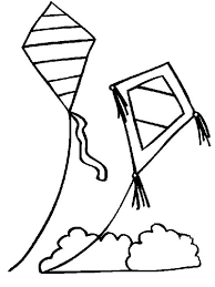 Two Kites Over The Cloud Colouring Page