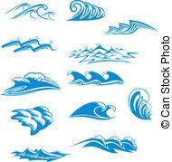 Tidal wave splash cliparts