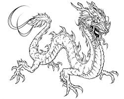Dragon Fearsome Chinese Coloring Page