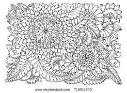 Flower Pattern In Black And White For Adult Coloring Book Can Use Print