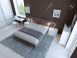 hightech schlafzimmer interieur mit dickem teppich aus hellgraue farbe licht linoleumböden und dunklen taupo farbigen wänden 3d übertragen