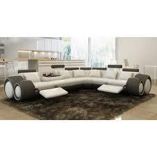 canapé d angle design cuir blanc et gris relax achat vente