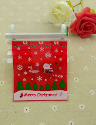 ST Size 10x11 3cm Red Santa Claus Christmas Cellophane Cookie BagBakery Gift Packing Bags 100pcs Lot
