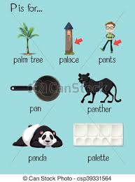 Many words begin with letter p illustration clip art vector