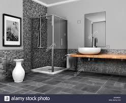 großes badezimmer mit stein und mosaik grau ton