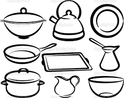 Kitchen Utensils Drawing Coloring Pages 15 Sketch Crowdbuild For