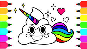 A Ordable Poop Emoji Coloring Page Unicorn Pages How To Draw For Kids