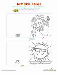 Kindergarten Arts Amp Crafts Worksheets Print N Color Get Well Cards