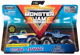 100 Blue Monster Truck Jam Double Down Showdown Storm Damage Thunder 164