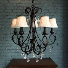 Rustic Crystal Chandelier With Black Finish