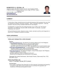 Resume Sample For Singapore Jobs Packed With Charming Good Template