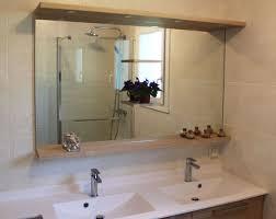 miroir salle de bain avec tablette et eclairage gelaco