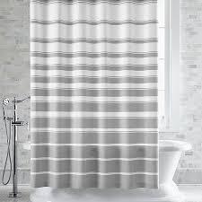 Hampton Grey White Striped Shower Curtain