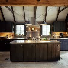 Kitchen Reclaimed Log Cabin Rustic With Stainless Steel Countertops And Dark Distressed Plank Cabinet