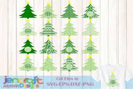 Christmas Tree Monogram Frames SVG Chevron Pattern Example Image 1