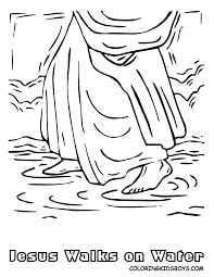Bible Jesus Walks On Water Coloring Pages