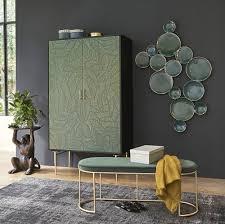 wanddeko konkave formen aus metall grün und goldfarben 125x76 maisons du monde