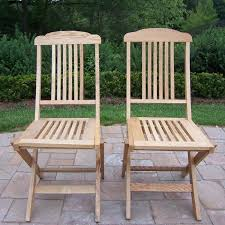 Oakland Living WC-95-WD Folding Event Wooden Outdoor Dining Chairs (Set Of  2)