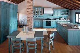 KitchenRustic Blue Kitchen Idea With Small Dining Area And Wooden Floor Country