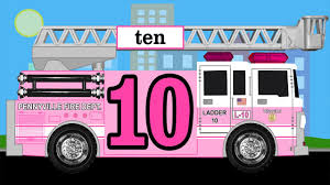 100 Pink Fire Truck Toy Number Counting Trucks Count 1 To 10 For