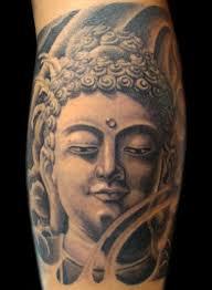 Amazing Grey Ink Buddhist Tattoo On Leg
