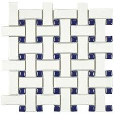 merola tile metro basket weave white and cobalt 10 1 2 in x 10 1