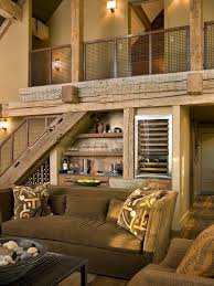 Furniture Contemporary Lodge With Rustic Living Room And Wine Storage Under Stairs Decor Also Screen