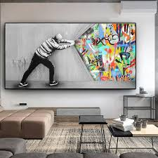the curtain graffiti painting on canvas posters and prints wall picture for living room cuadros home decor wish