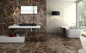 Textured Bathroom Tile Brown Marble Wall Tiles With Stylish Modern Tub And Black Corner