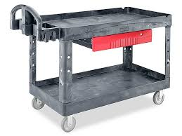 RubbermaidR Black Utility Cart With Drawer