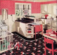 Decoration Retro Kitchen Design Ideas Great Idea With Checkered Floor