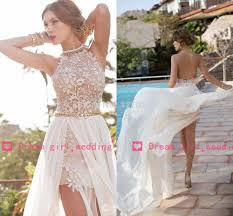 new arrival white chiffon beaded appliques lace prom dresses