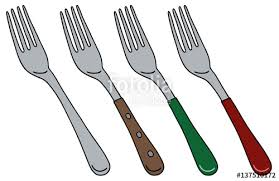 Hand drawing of color forks