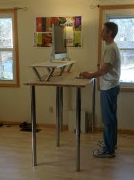 simple wood and metal two tiers stand up computer desk of 10