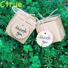 1PC Kraft Wedding Favor Party Candy Gift Box With Thank You Tag Baby Shower Souvenir Vintage