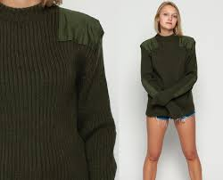 army sweater wool military sweater 80s camo olive drab green