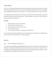 Objective For Resume High School Student Example Examples