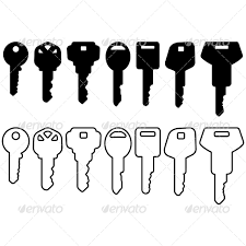 Black House Key Icon Set