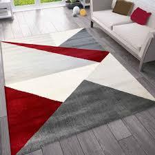 teppich wohnzimmer schlafzimmer flur teppich geometrisches muster rot vimoda homestyle