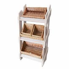 Retail Wooden Stand Five Wicker Basket Set